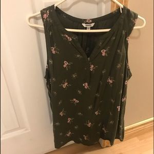 Olive green v neck tank with baby pink flowers